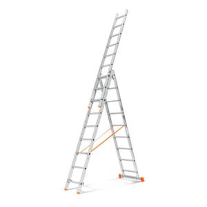 Лестница трёхсекционная алюминиевая девятиступенчатая