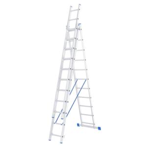 Лестница одинадцатиступенчатая трёхсекционная алюминиевая