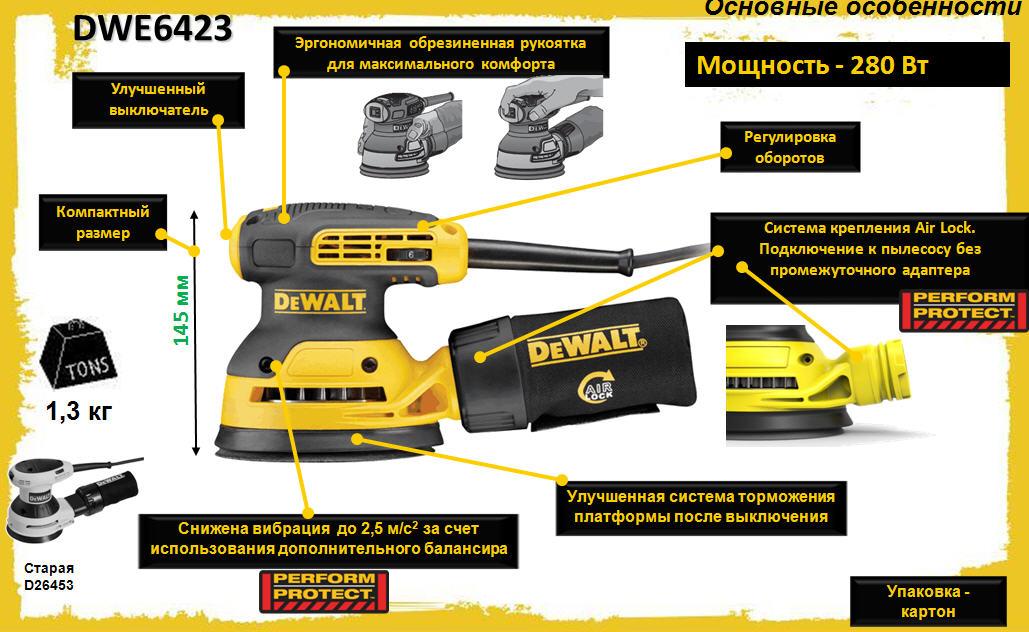 Новая зверь-машина: шлифовка DeWalt DWE6423 эксцентриковая